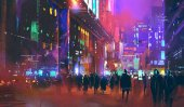 people walking in the sci-fi city at night