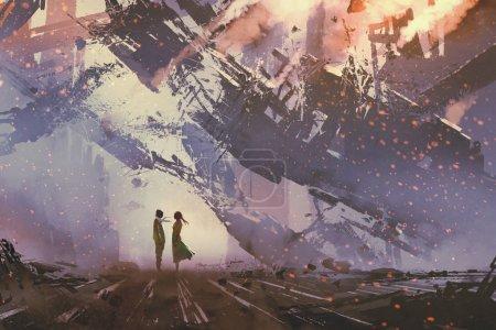 Photo pour Homme et femme debout contre l'effondrement des bâtiments ville, illustration peinture - image libre de droit