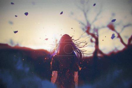 Photo pour Vue arrière de la femme avec effet craqué sur son corps, regarder le lever du soleil, illustration peinture - image libre de droit