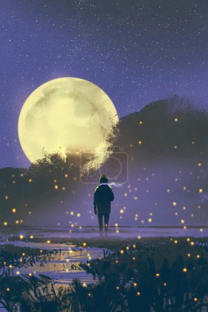 man standing in swamp with fireflies