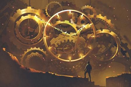 man standing in front of the big golden clockwork
