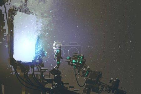 Photo pour L'astronaute marcher à travers le portail futuriste, concept de science fiction, illustration peinture - image libre de droit