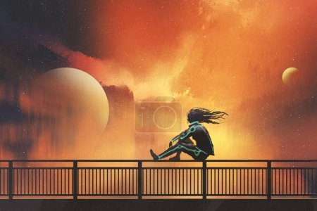 Photo for Woman in futuristic suit sitting on railing looking at beautiful night sky, illustration painting - Royalty Free Image