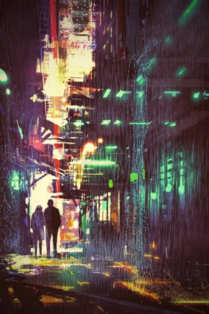 Photo for Sci-fi concept of couple walking in alley at rainy night with digital art style, illustration painting - Royalty Free Image