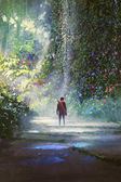 man walking in fantasy forest