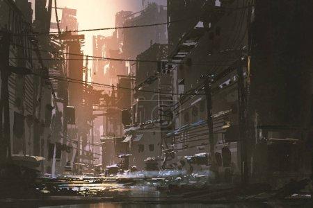 Foto de Paisaje de la sucia calle de ciudad abandonada al atardecer con el estilo de arte digital, Ilustración pintura - Imagen libre de derechos
