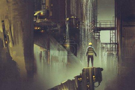 Photo pour Scène de l'ingénieur debout sur une plate-forme regardant barrage futuriste, style art numérique, peinture d'illustration - image libre de droit