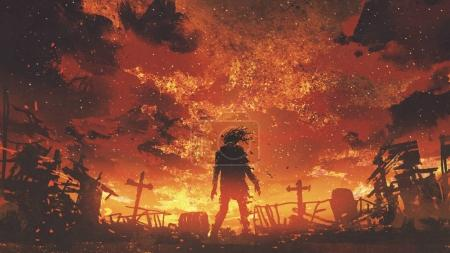 Photo for Zombie walking in the burnt cemetery with burning sky, digital art style, illustration painting - Royalty Free Image