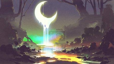 Photo pour Décor nocturne montrant la fonte de la lune crée une rivière rayonnante, style d'art numérique, peinture d'illustration - image libre de droit