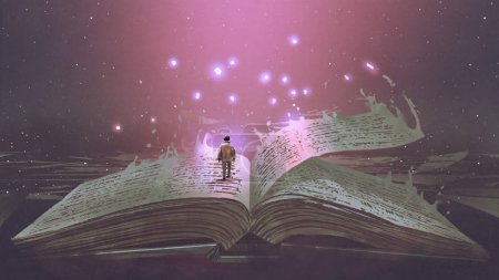 Boy standing on the opened giant book with fantasy...