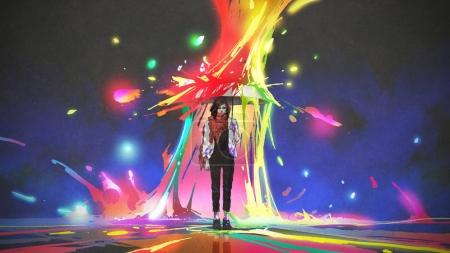 woman holding umbrella protecting herself from colored splashes, digital art style, illustration painting