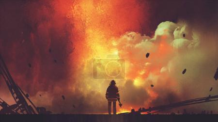 Photo for Brave firefighter with axe standing in front of frightening explosion, digital art style, illustration painting - Royalty Free Image