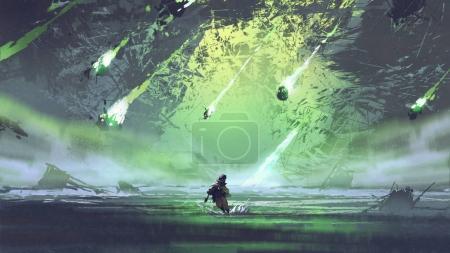 homme qui court de météorite ou débris rocks avec feu tomber dans la mer de style art numérique, l'illustration peinture