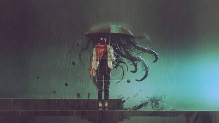 horror concept of mystery woman holding the umbrella with black tentacles inside in the rainy night, digital art style, illustratio