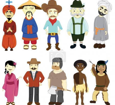 People in national dress. National clothes. Vector illustration.