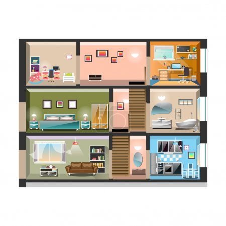 Illustration for House cross section with room interiors. Vector illustration - Royalty Free Image