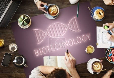 Table with poster with Biotechnology