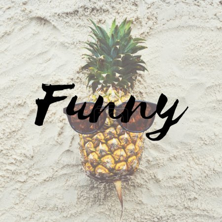 Funny pineapple on sand