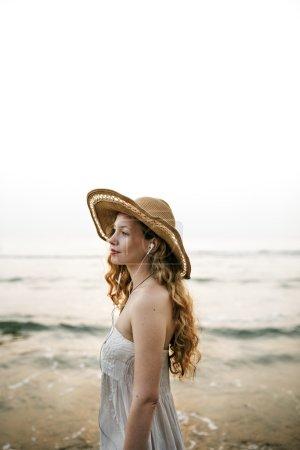 beautiful woman in summer hat