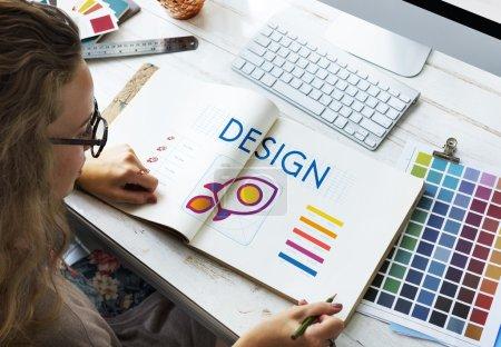 Woman working in design studio
