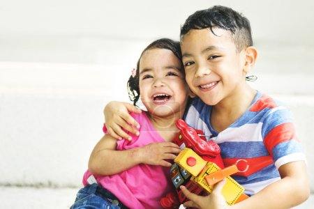 Photo for Little brother and sister Have fun together, childhood Concept. Original photoset - Royalty Free Image