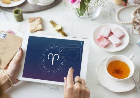 Woman browsing digital tablet