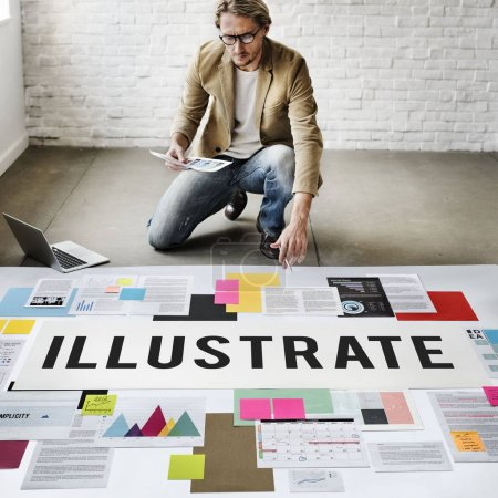 businessman working with Illustrate
