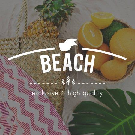 Fruits on sand beach