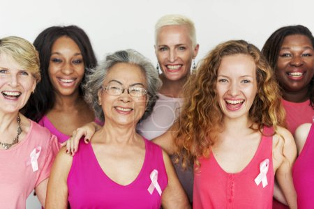 diversity women with pink ribbons