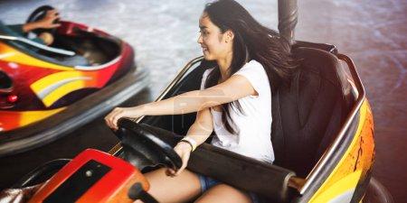 Girl Driving Bumper Car