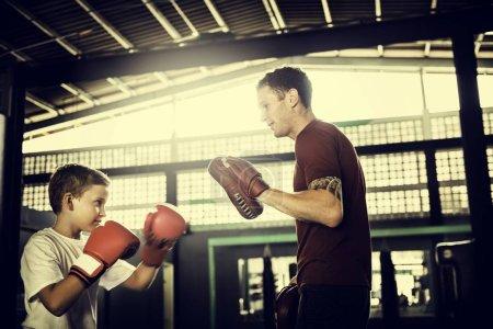 Boy Training in sport school