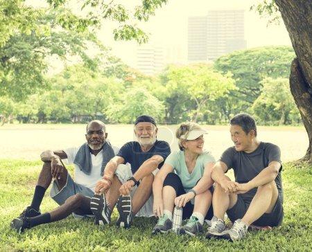 Sportive Senior Friends at park