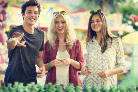 beautiful friends in Amusement Park