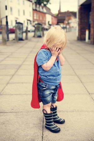 Superhero Little Boy cry