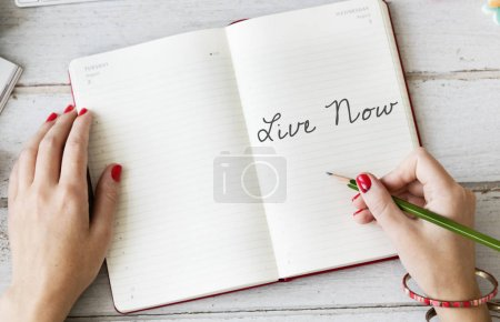 Woman writing notes in diary