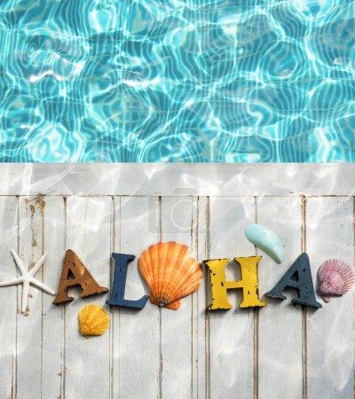 Aloha Text near Swimming Pool