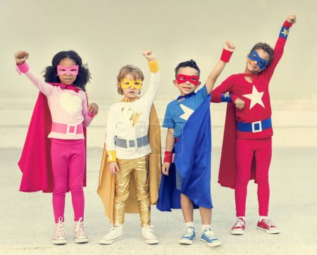 Superheroes Cheerful Kids playing