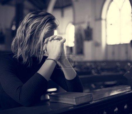 Woman Prying in Church