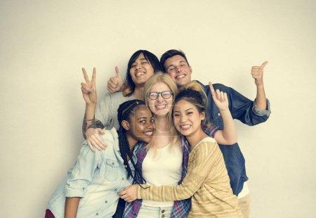 students hugging together