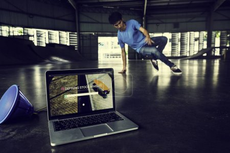 open laptop with dancerbreakdancer