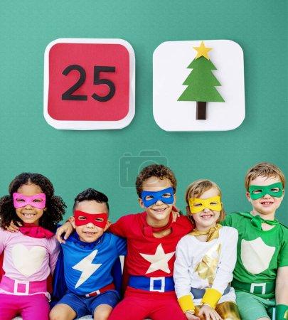 Superheroes Cheerful Kids have fun
