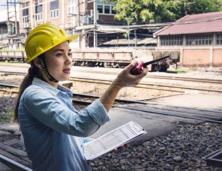 Woman checking Train