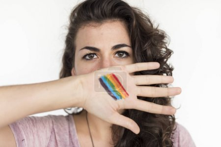 Girl with Gay Pride Flag