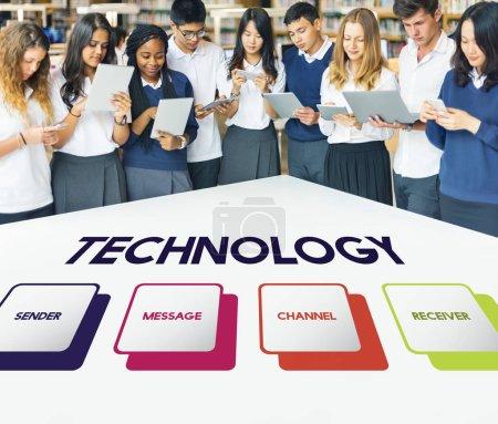 Diversity students using digital tablets