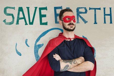 man wearing superhero mask