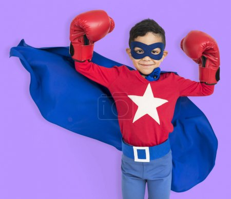 Boy in costume superhero