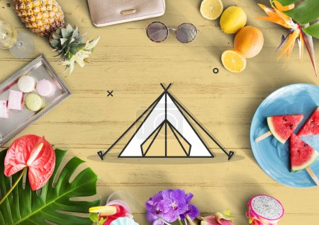 Tent symbol on wooden table