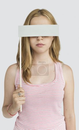 Woman Covering Eyes with blank