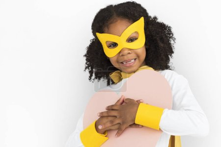 African girl in costume superhero