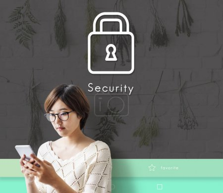 Asian young woman using smartphone, Security Conce...